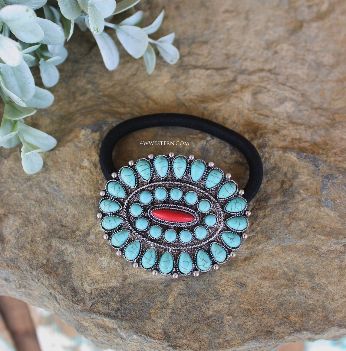 Round Red-Turquoise Hair Tie