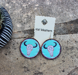 Turquoise Leather Painted Cow Skull Earrings