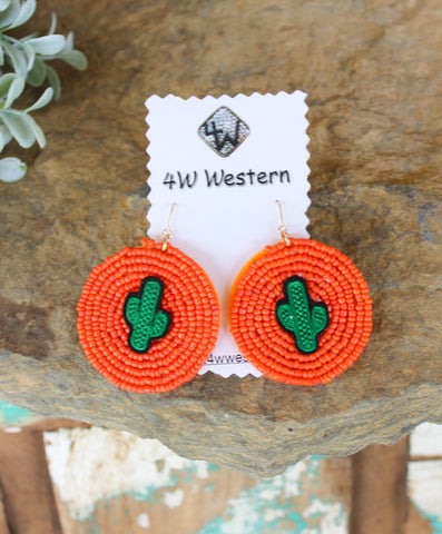 Orange Round Beaded Cactus Earrings