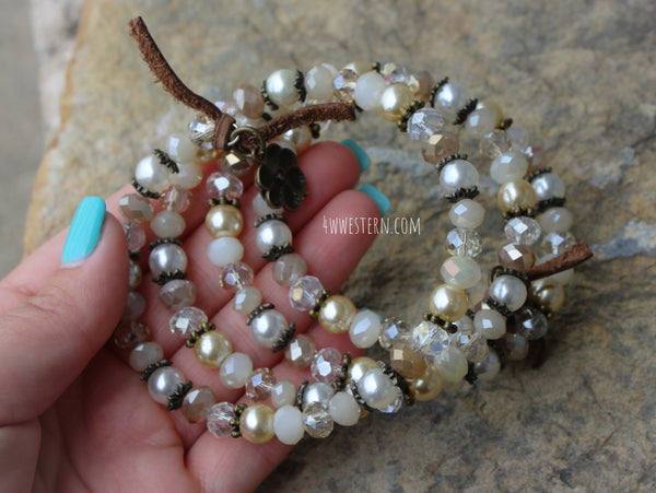 Cream Soda Crystal Wrap Bracelet