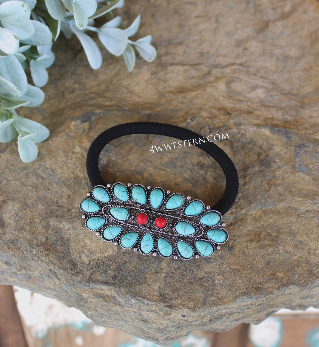 Long Oval Red-Turquoise Hair Tie