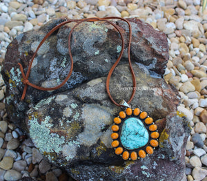 Southwest Orange Turquoise Necklace