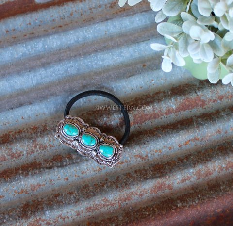 Triple Turquoise Concho Hair Tie