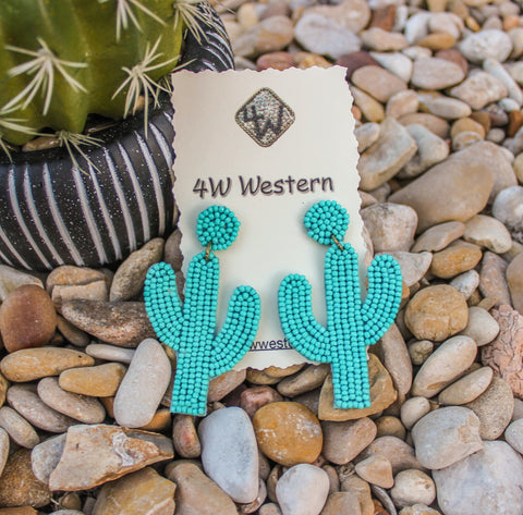 Turquoise Beaded Cactus Earrings