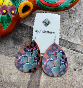 Leather Cactus Painted Earrings