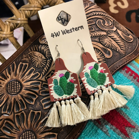 Ivory Tassel Leather Earrings