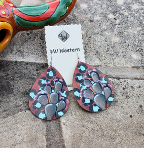 Leather Turquoise Cactus Painted Earrings