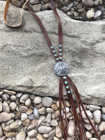 Leather Thunderbird Bolo Necklace