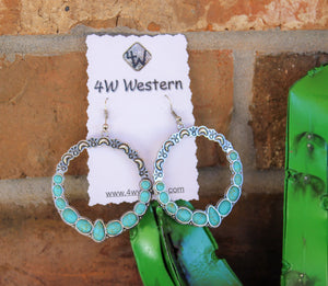 Round Turquoise Hoop Earrings