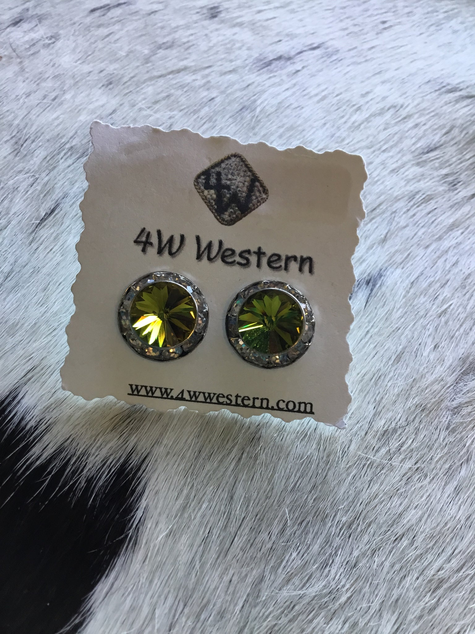 Olive Swarovski Post Earrings