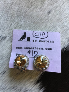 CLIP ON Brown Swarovski Earrings