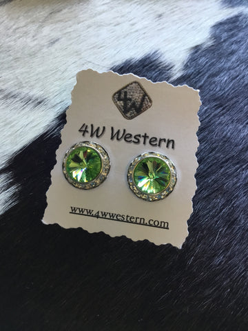 Lime Green Swarovski Post Earrings