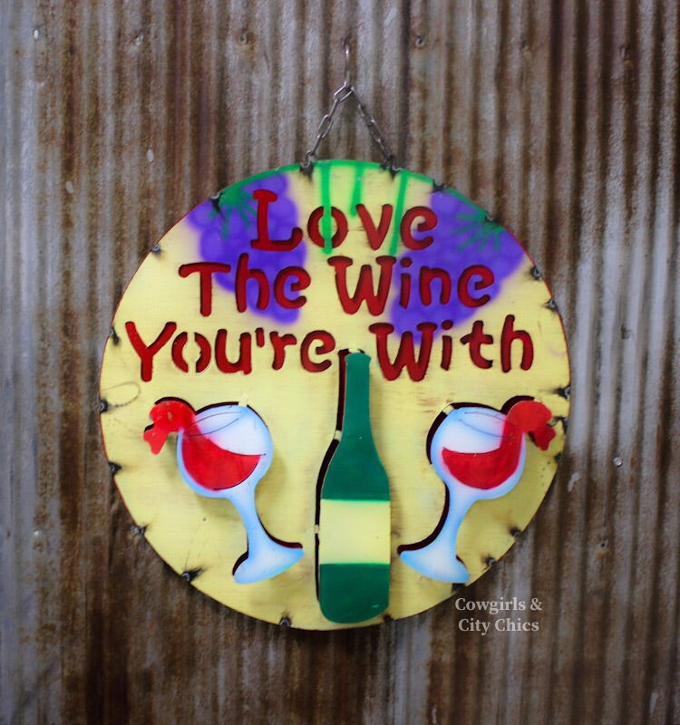 Love The Wine Metal Sign