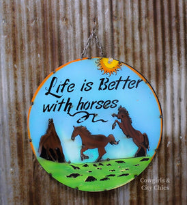 Life With Horses Metal Sign