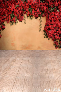 Red Flowers Wall Photography Background