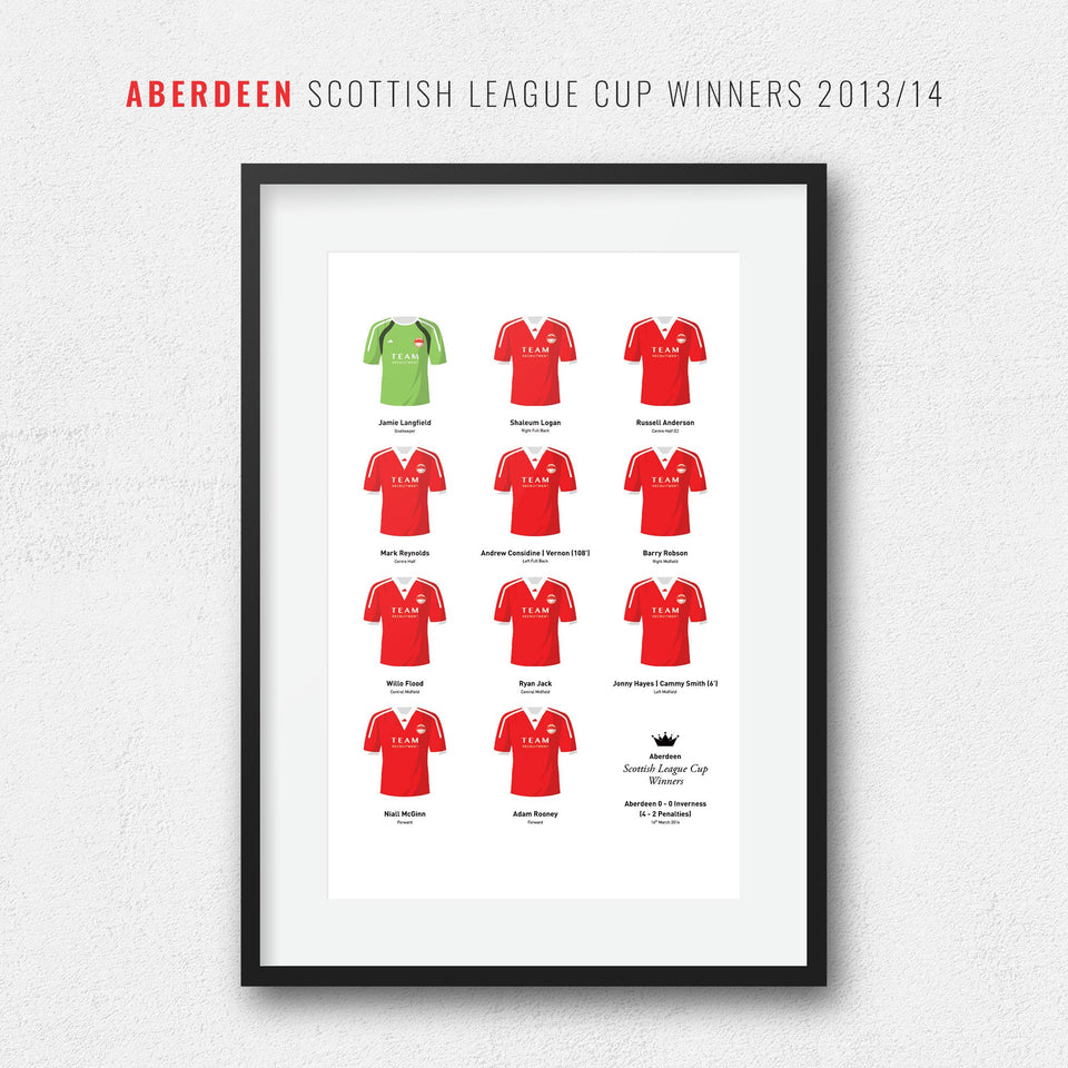 Aberdeen 2014 Scottish League Cup Winners Football Team Print - Good Team On Paper