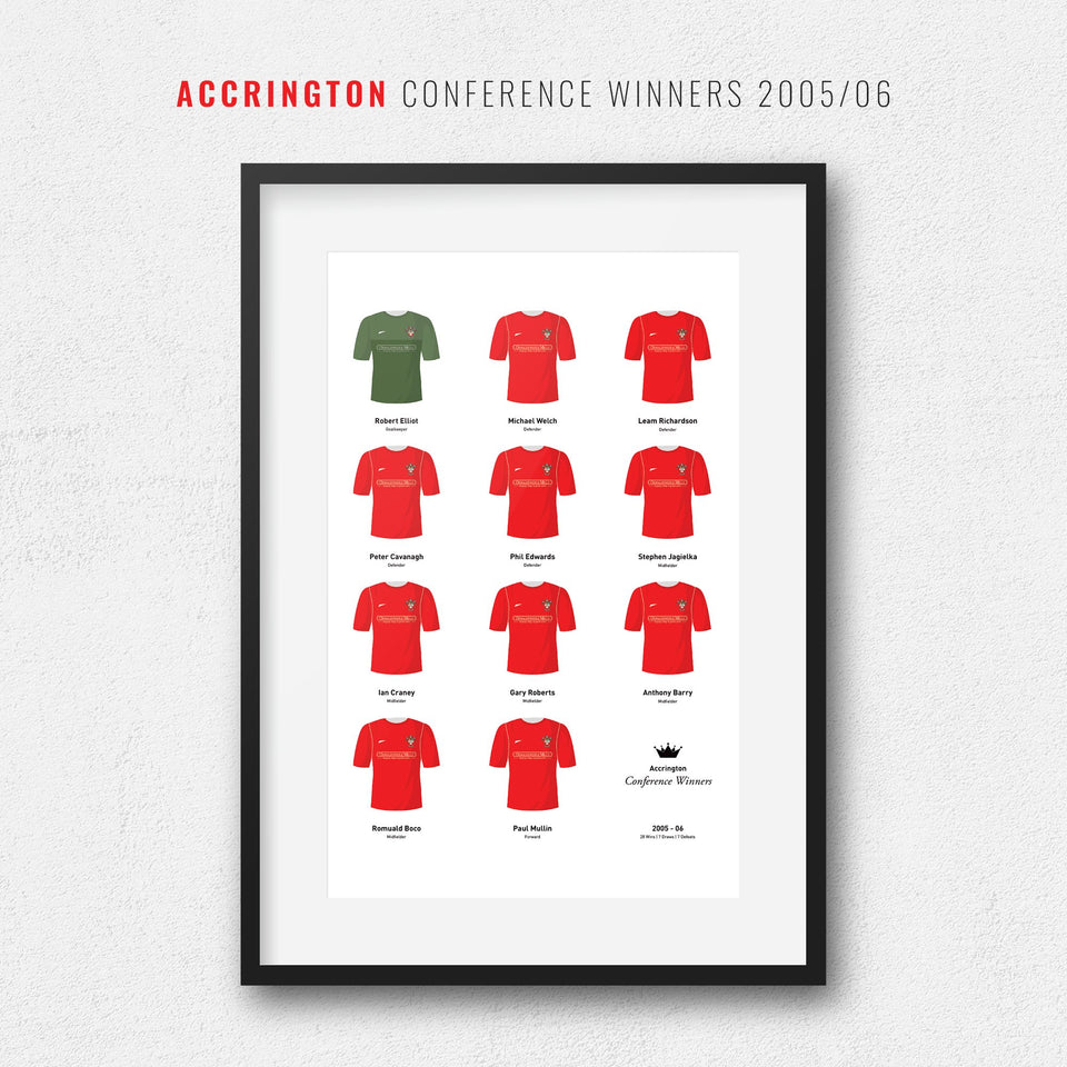 Accrington 2006 Conference Champions Football Team Print - Good Team On Paper