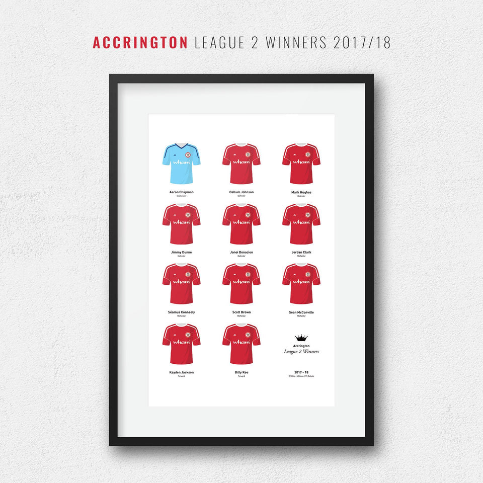 Accrington 2018 League 2 Winners Football Team Print - Good Team On Paper