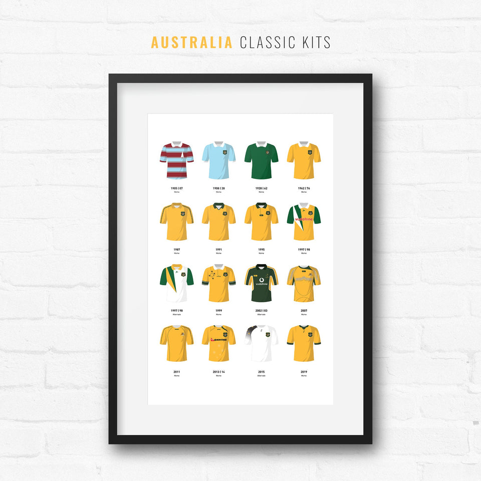 Australia Classic Kits Rugby Union Team Print - Good Team On Paper