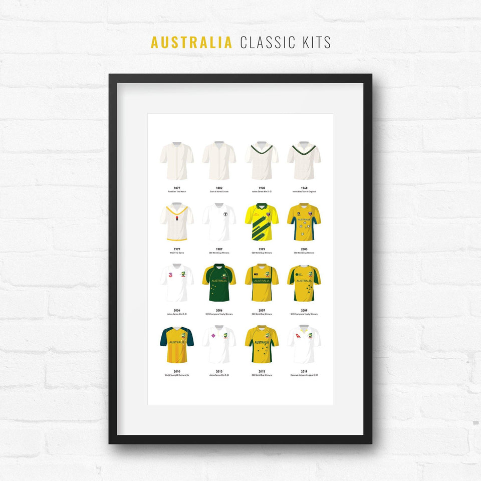 Australia Classic Kits Cricket Team Print