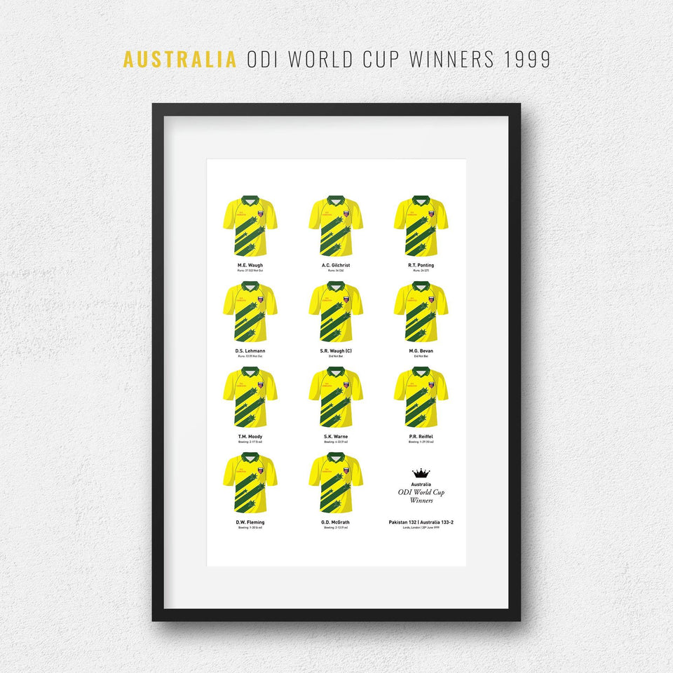 Australia Cricket 1999 World Cup Winners Team Print