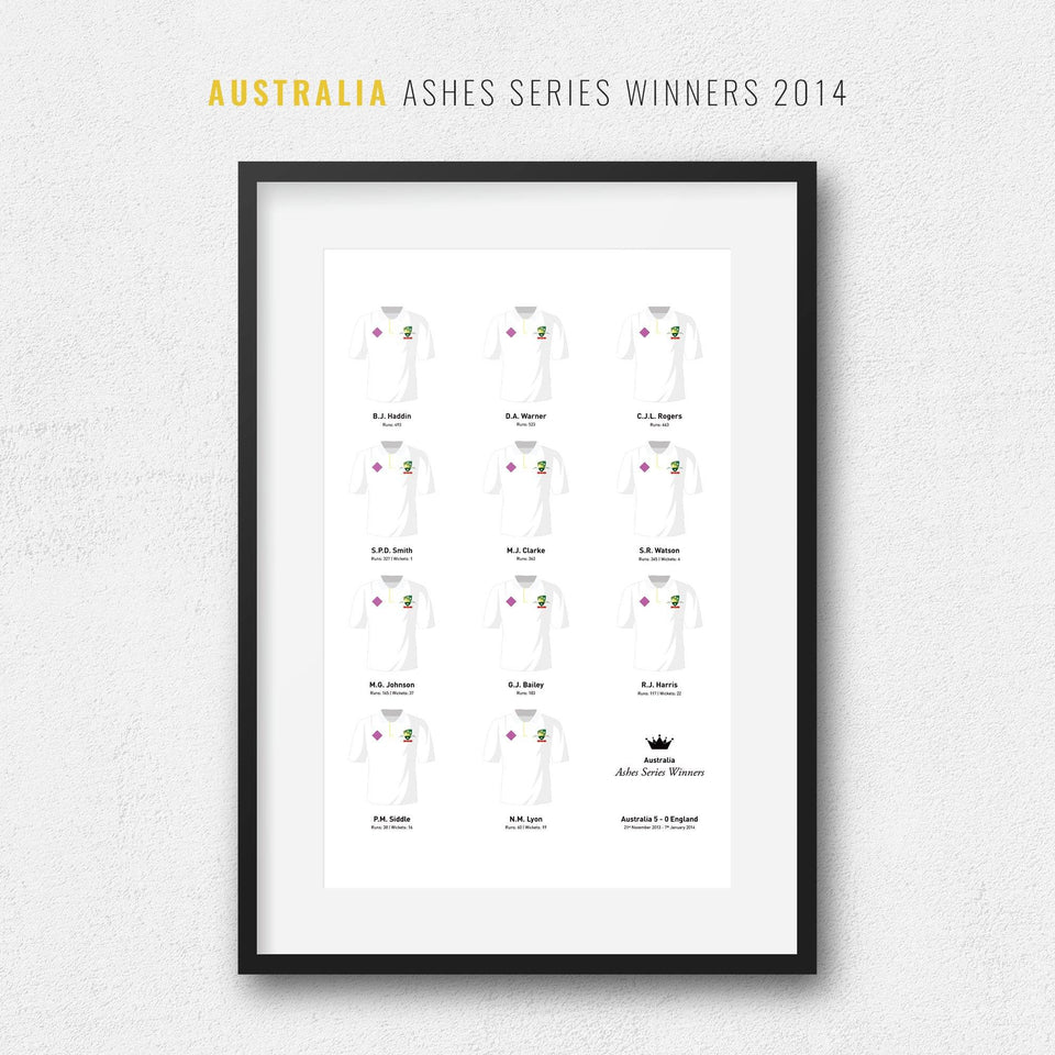 Australia Cricket 2014 Ashes Series Winners Team Print