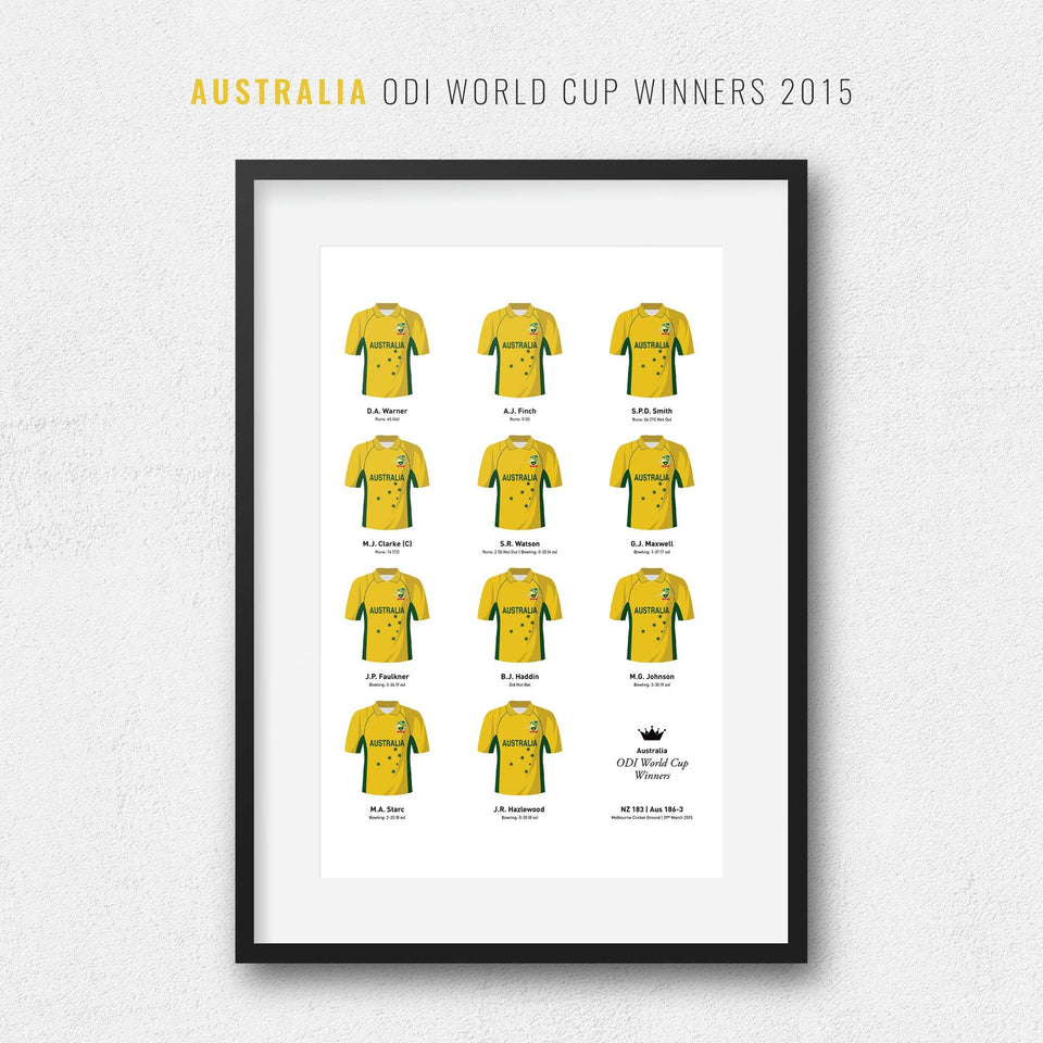 Australia Cricket 2015 World Cup Winners Team Print