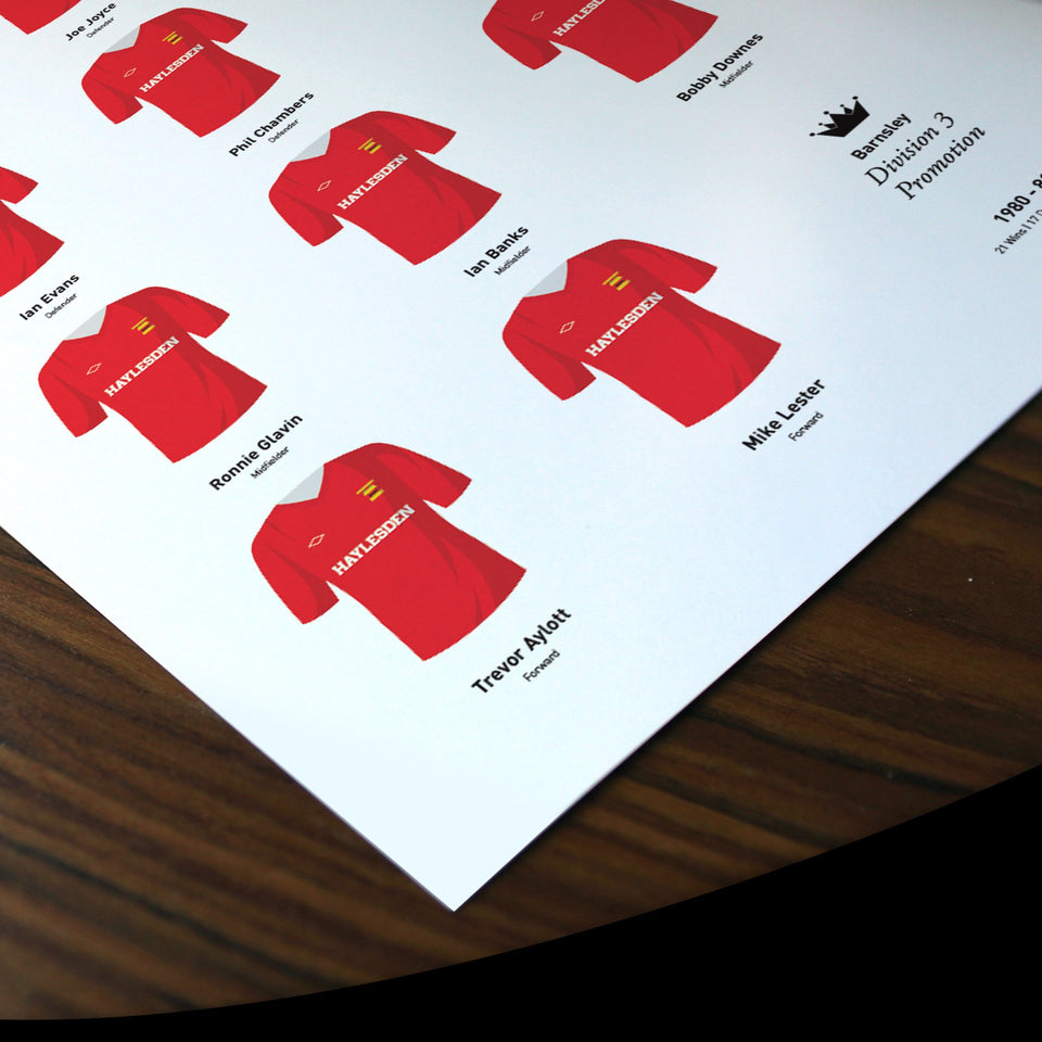 Barnsley 1981 Division 3 Promotion Winners Football Team Print