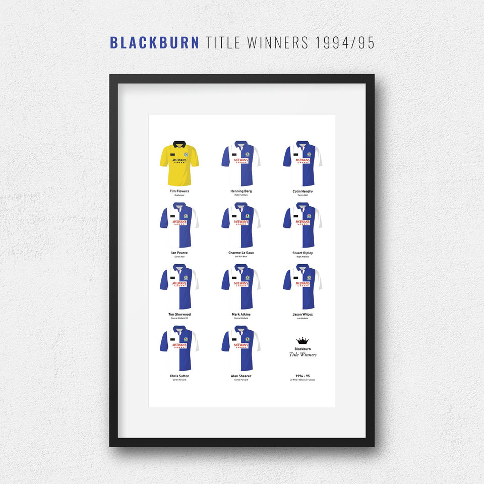 Blackburn 1995 Title Winners Football Team Print