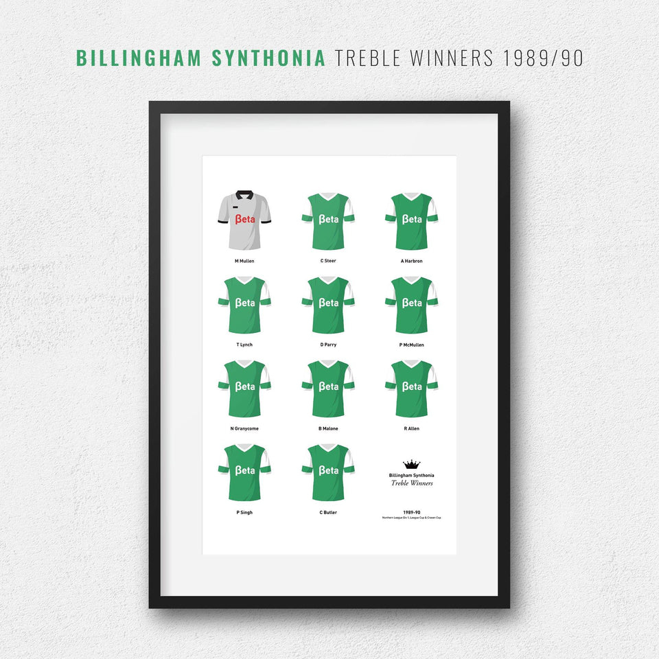 Billingham Synthonia 1989-90 Treble Winners Football Team Print