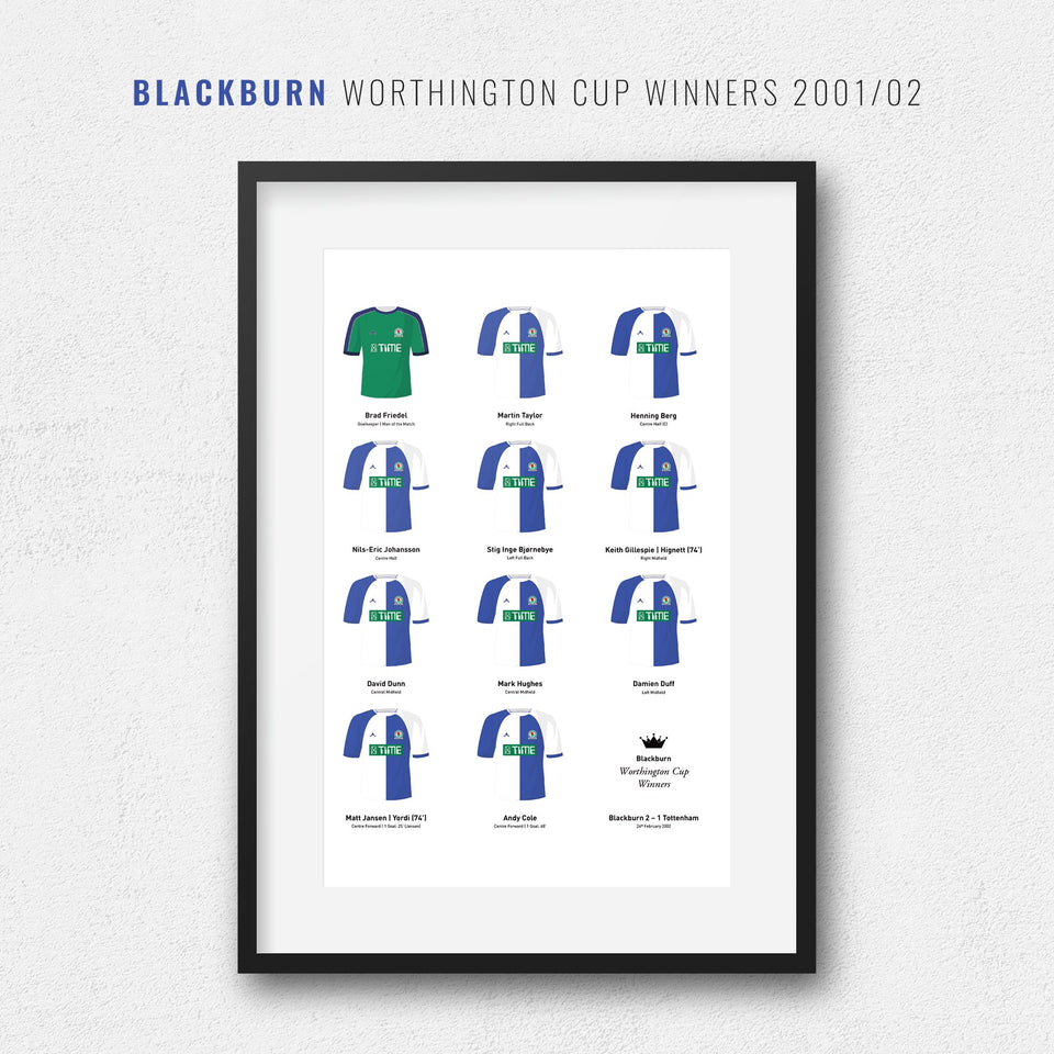 Blackburn 2002 Worthington Cup Winners Football Team Print - Good Team On Paper