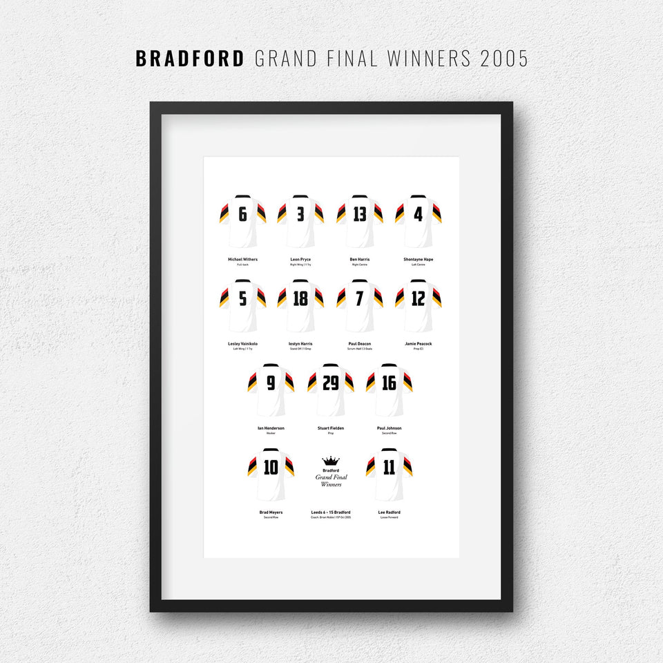 Bradford Rugby League 2005 Grand Final Winners Team Print - Good Team On Paper