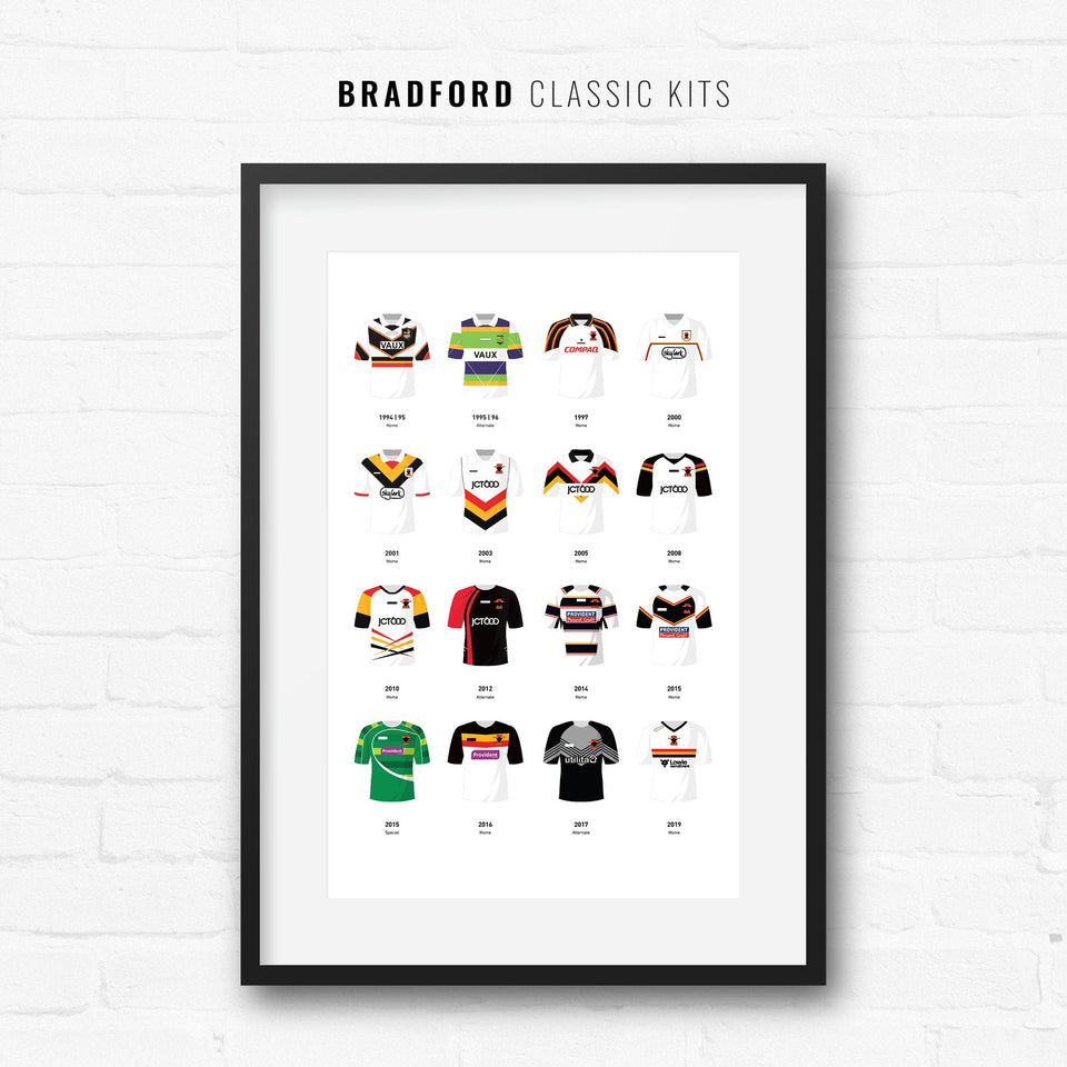Bradford Classic Kits Rugby League Team Print - Good Team On Paper