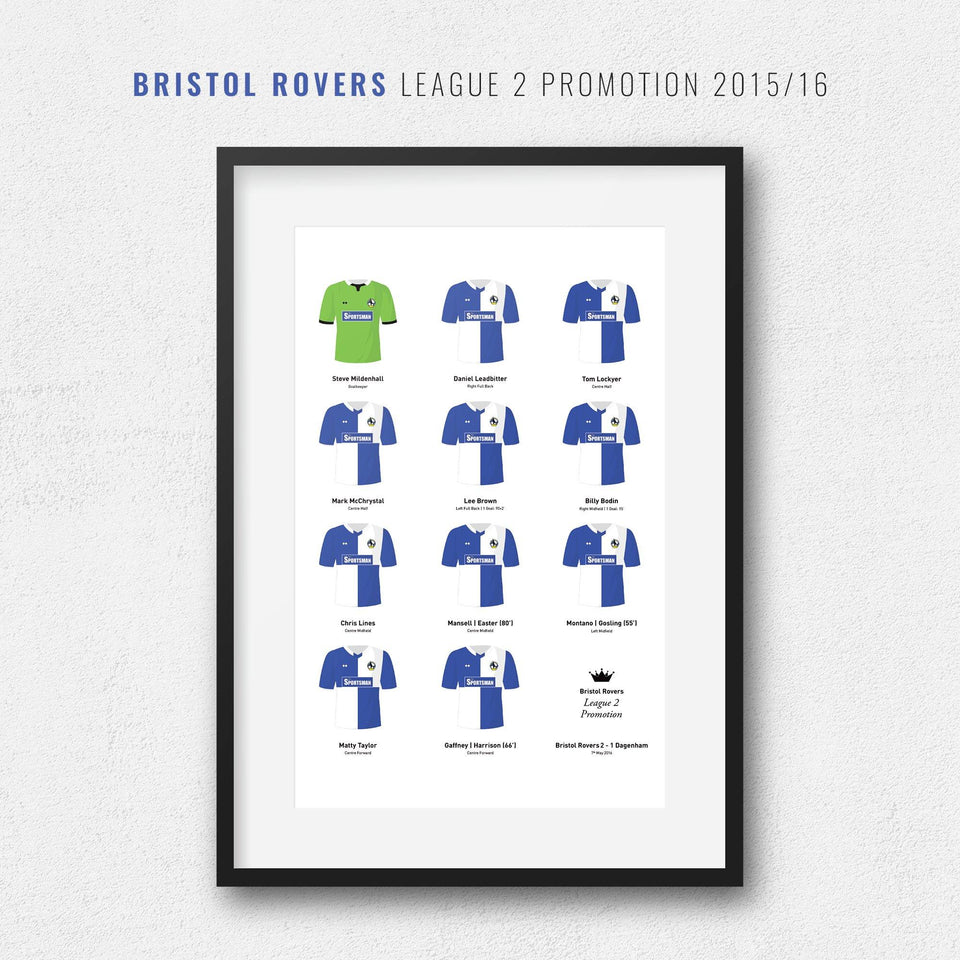 Bristol Rovers 2016 League 2 Promotion Winners Football Team Print