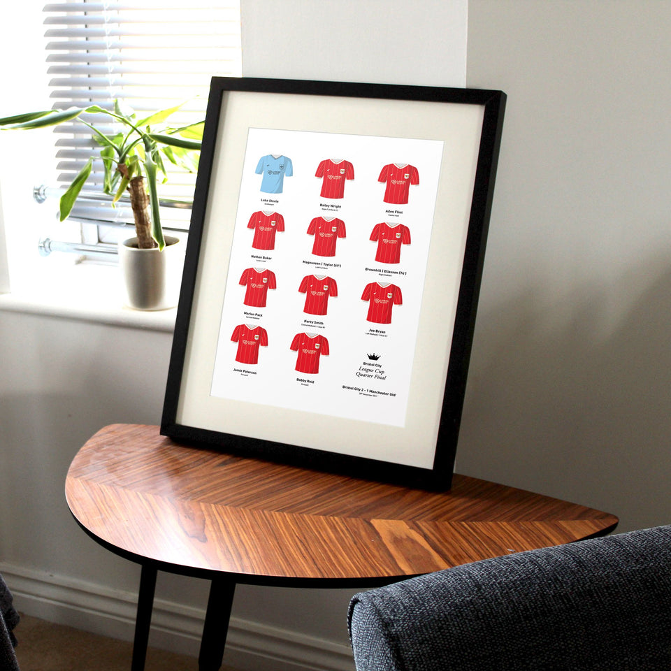 Bristol City 2017 League Cup Quarter Final Football Team Print
