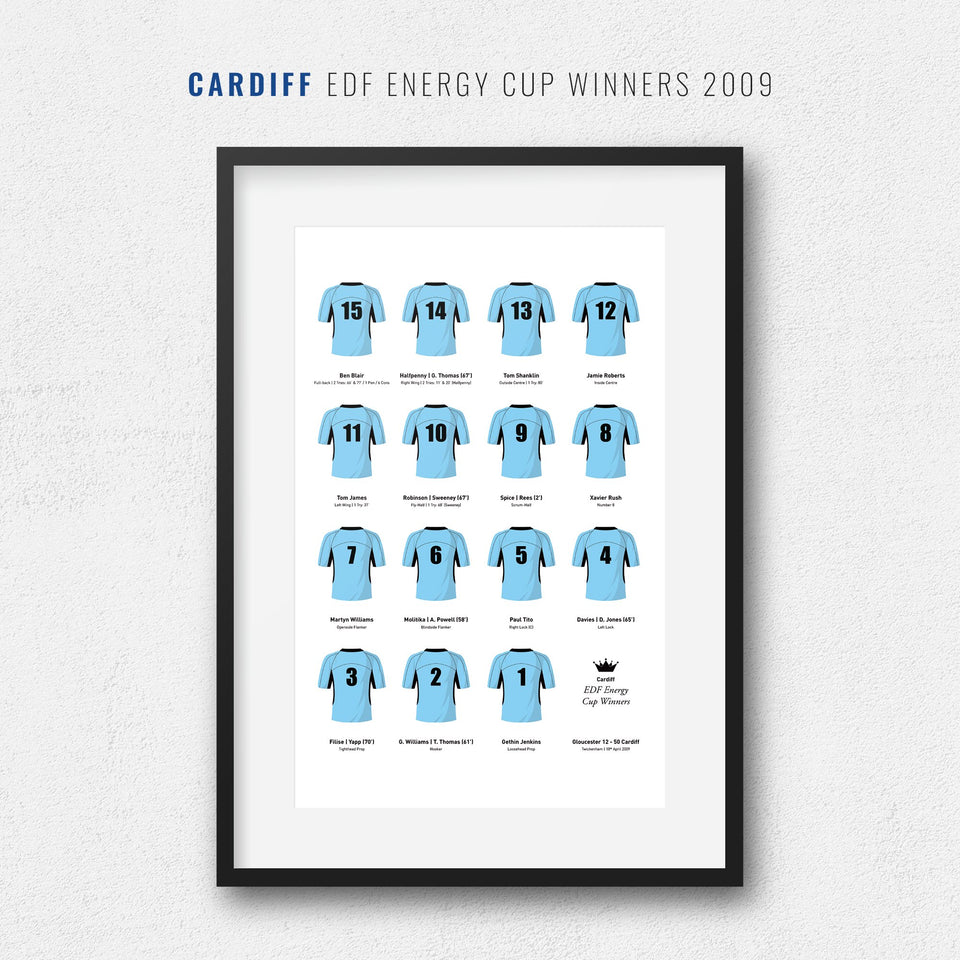 Cardiff Rugby Union 2009 EDF Energy Cup Winners Team Print - Good Team On Paper