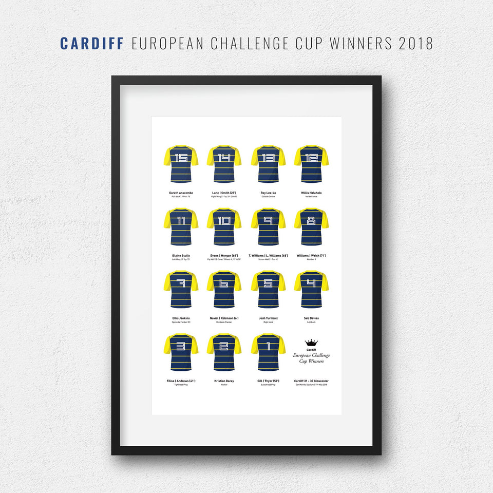 Cardiff Rugby Union 2018 European Challenge Cup Winners Team Print - Good Team On Paper