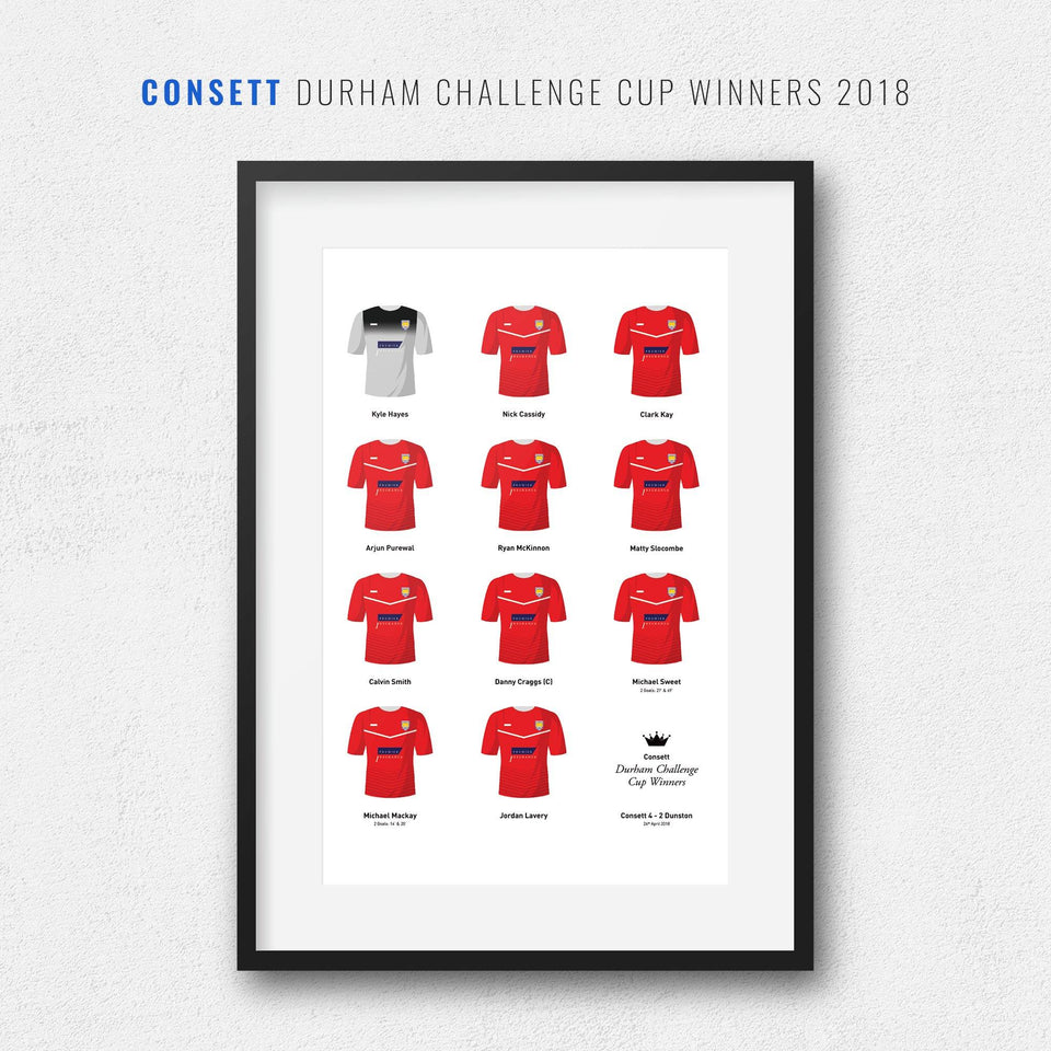 Consett 2018 Durham Challenge Cup Winners Football Team Print