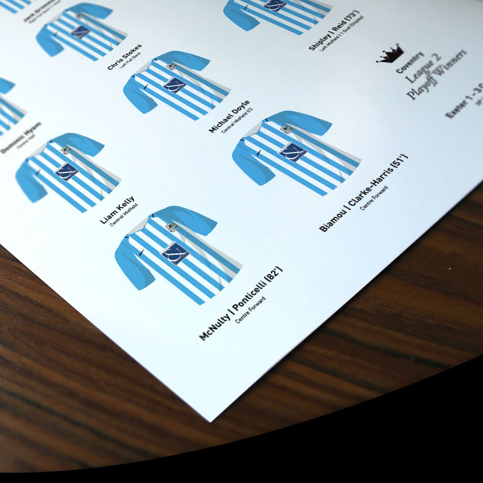 Coventry 2018 League 2 Playoff Winners Football Team Print - Good Team On Paper