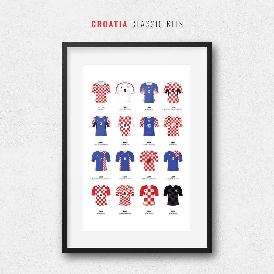 Croatia Classic Kits Football Team Print - Good Team On Paper