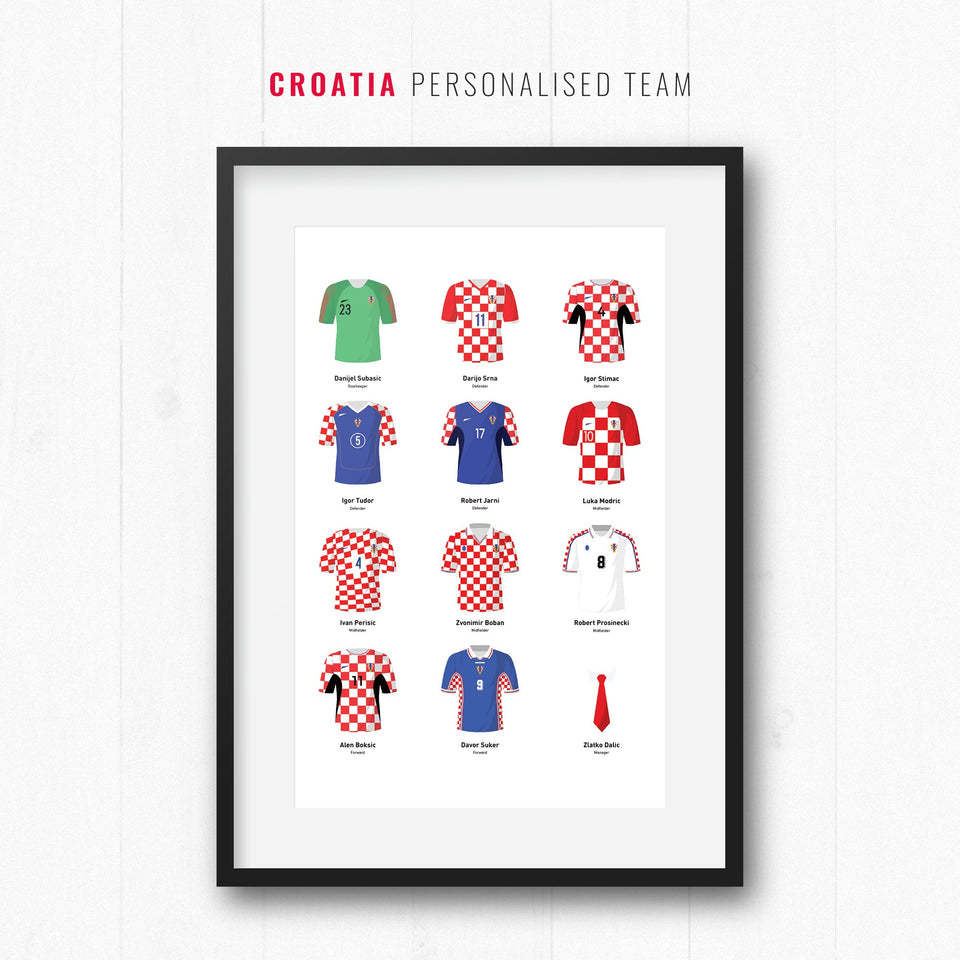 PERSONALISED Croatia Football Team Print - Good Team On Paper