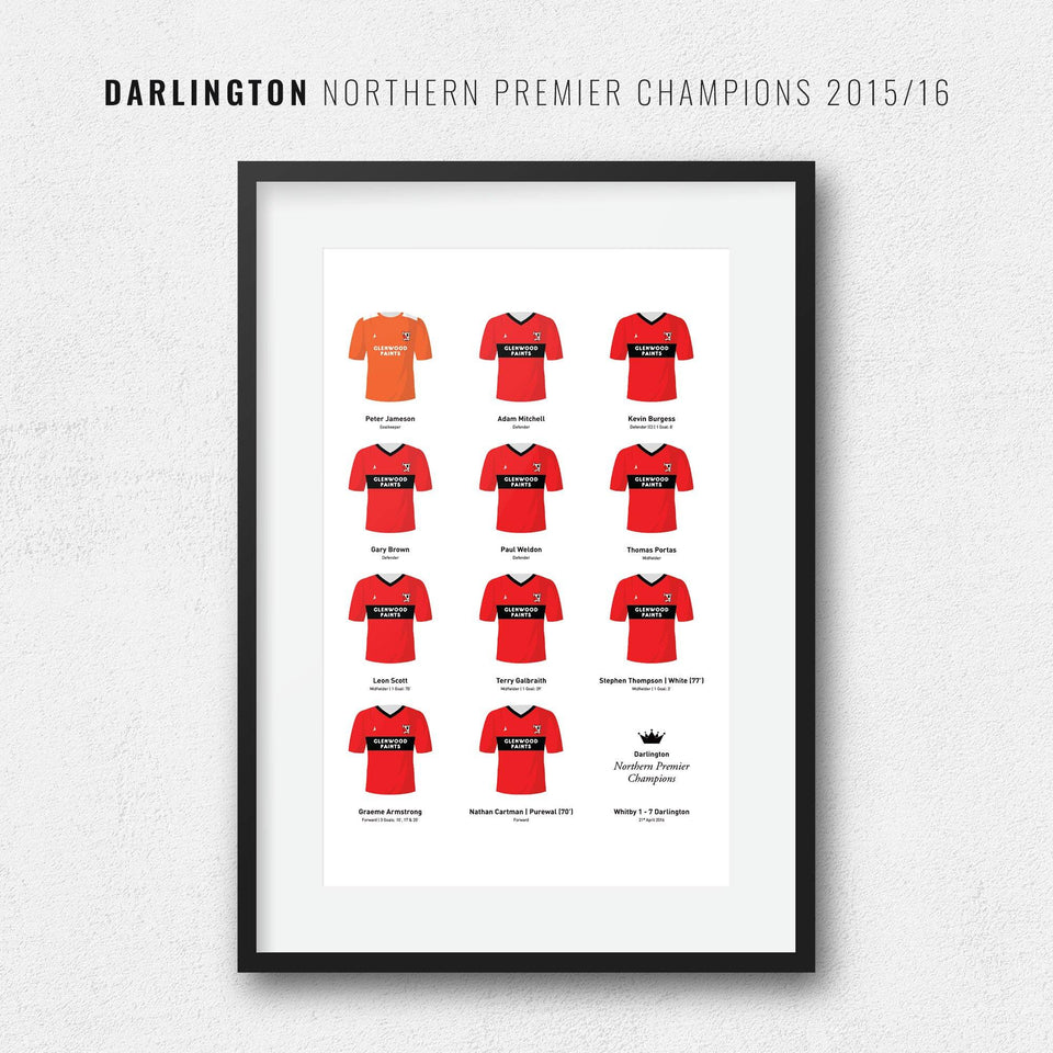Darlington 2016 Northern Premier Champions Football Team Print