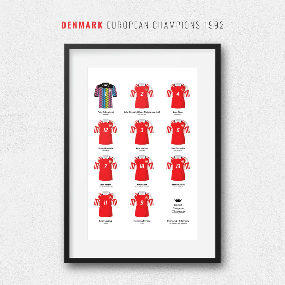 Denmark 1992 European Championship Winners Football Team Print - Good Team On Paper
