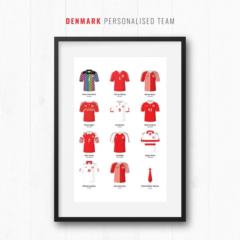 PERSONALISED Denmark Football Team Print - Good Team On Paper