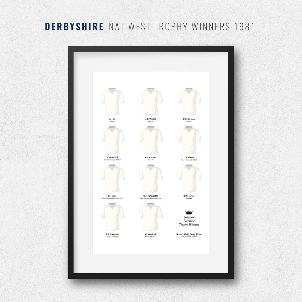 Derbyshire Cricket 1981 Nat West Trophy Winners Team Print