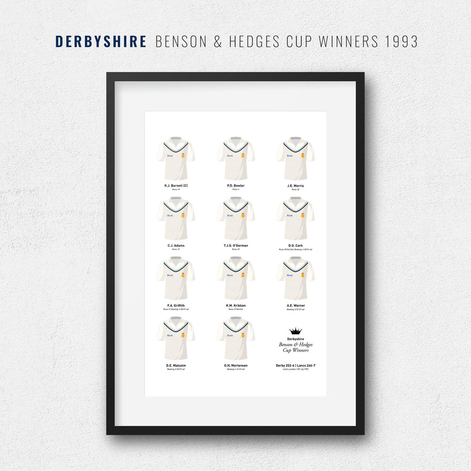 Derbyshire Cricket 1993 Benson & Hedges Cup Winners Team Print