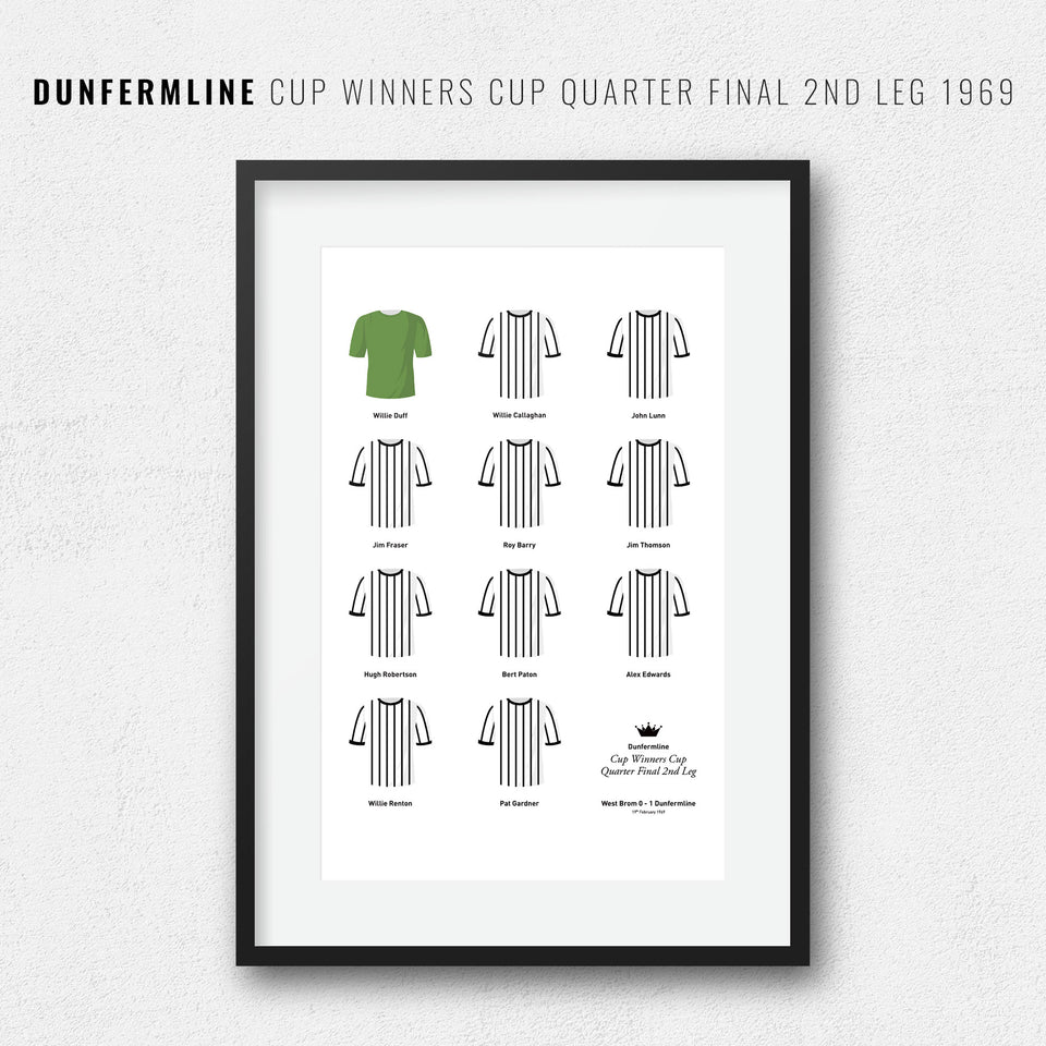 Dunfermline 1969 Cup Winners Cup Quarter Final Football Team Print