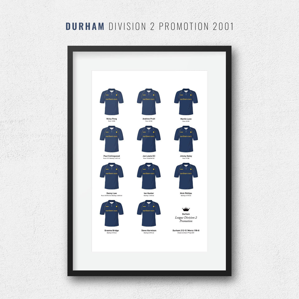 Durham Cricket 2001 League Division 2 Promotion Team Print