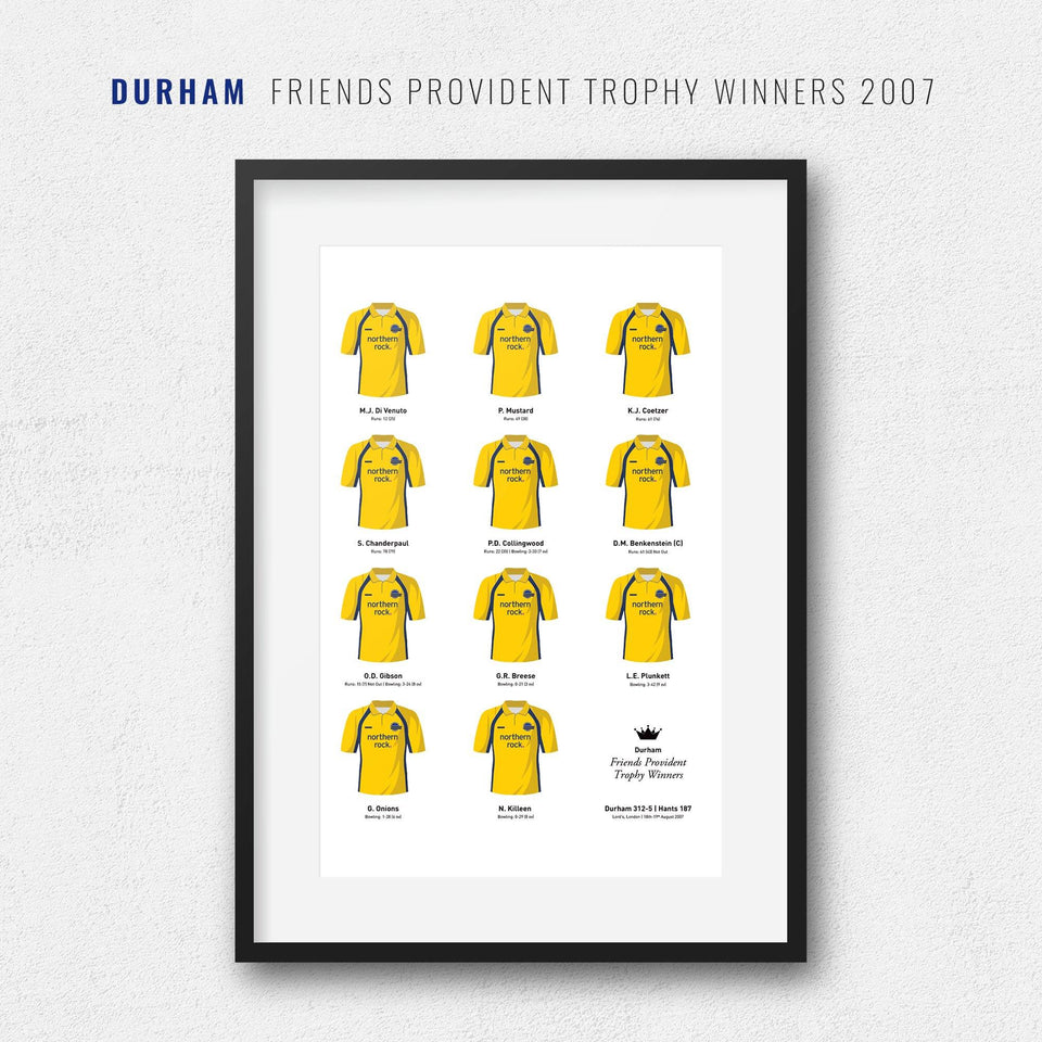 Durham Cricket 2007 Friends Provident Trophy Winners Team Print