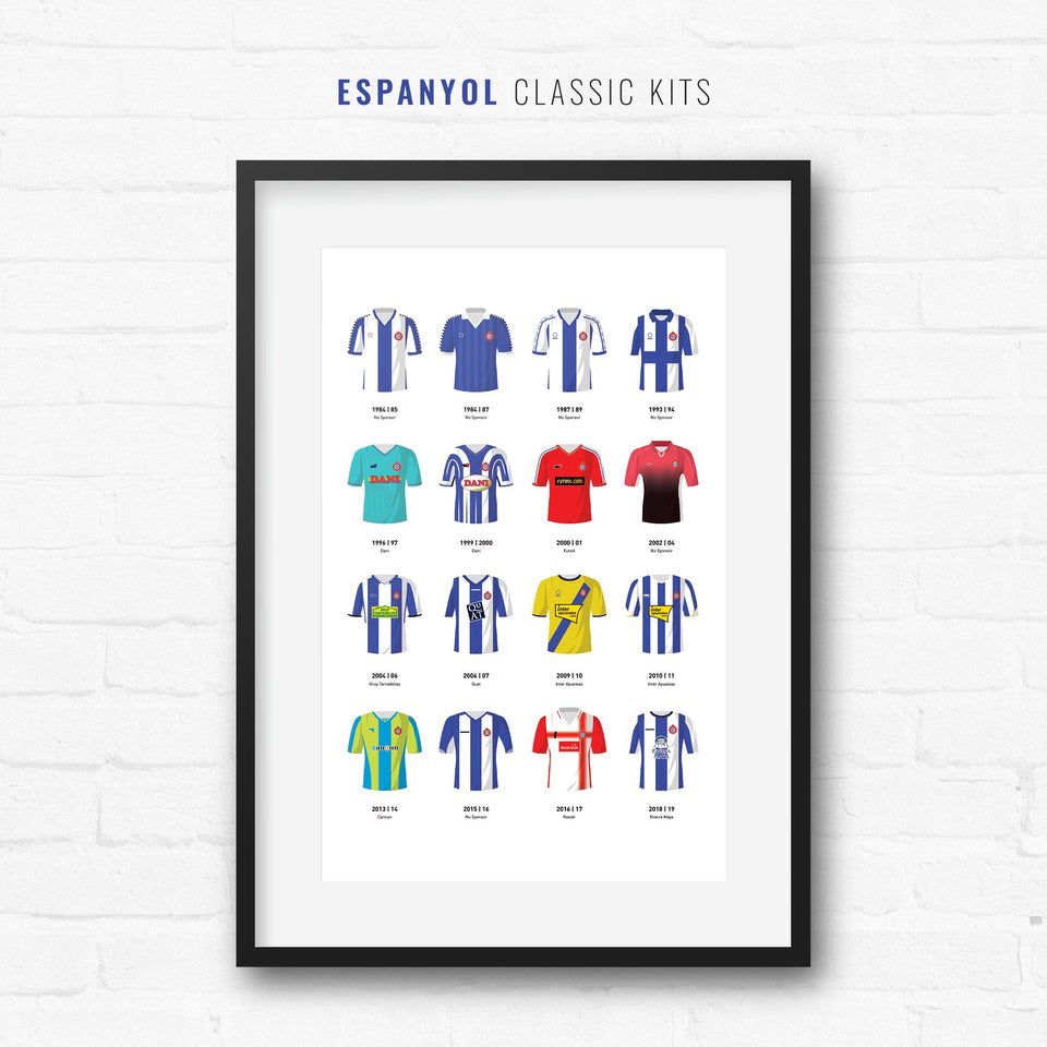 Espanyol Classic Kits Football Team Print - Good Team On Paper